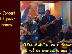 Cuba Mania Concert Son cubain le mercredi 4 janvier 2017, 75010 Paris